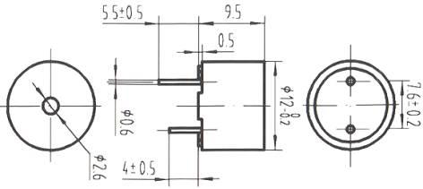 启盛厂家供应1295一体有源蜂鸣器5v直流2400hz 电磁式